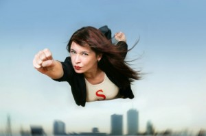 financial security, flying superwoman