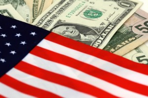 © Squareplum - Fotolia.com, Your Money Your Vote, American flag and dollar bills